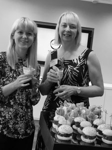 Rachel McCrystal and Sue Weighell enjoying canapes at K-Club event